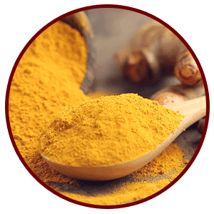 Wood spoon filled to the brim with yellow Turmeric powder