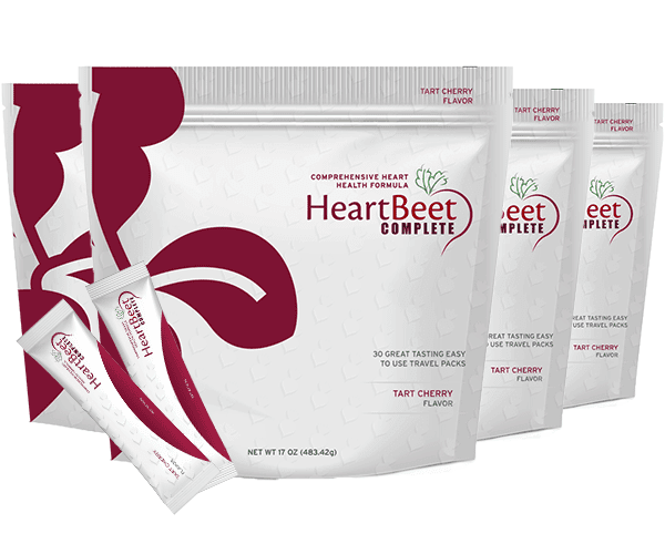 Four bags of HeartBeet Complete®  | Tart Cherry flavor