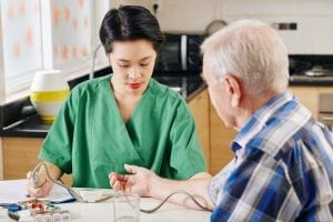 Medical nurse measuring blood pressure of patient